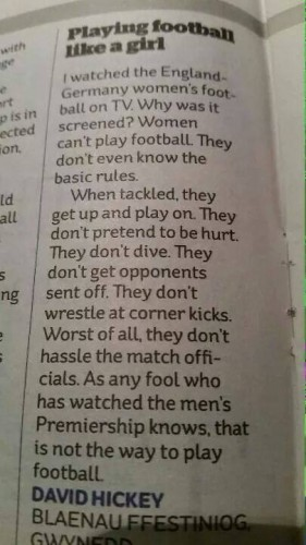 Girls can't play football!